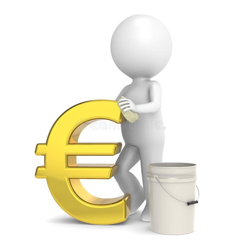 Savings. 3D little human character taking care of his savings. Euro Gold stock illustration