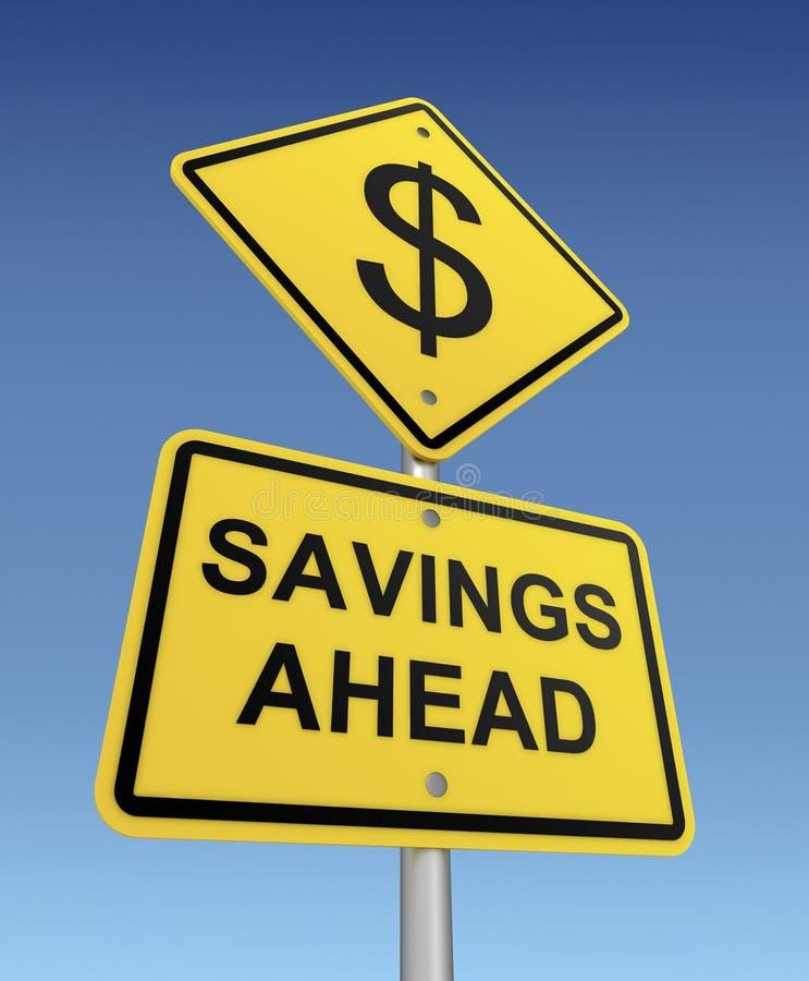 Savings ahead road sign 3d illustration vector illustration