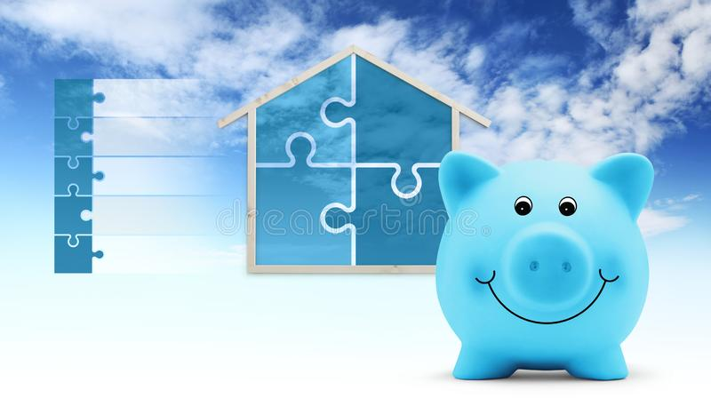 Savings concept, piggy bank with house shape and puzzle symbols, isolated on sky background, infographic for green buildings royalty free illustration