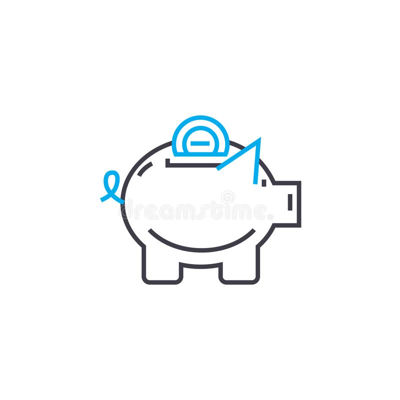 Savings fund vector thin line stroke icon. Savings fund outline illustration, linear sign, symbol concept. stock illustration