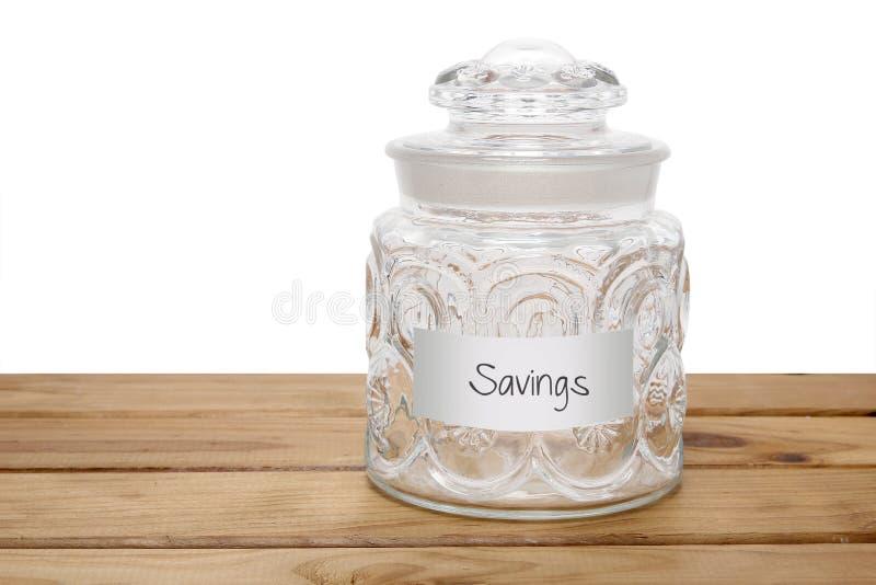 Glass Jar with Savings Label stock image