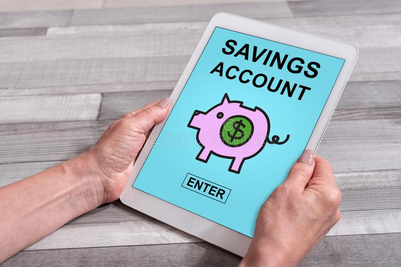 Savings konta pojęcie na pastylce obraz stock