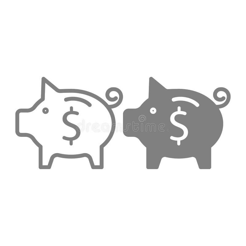 Savings linia i glif ikona Oszczędzanie pieniądze wektorowa ilustracja odizolowywająca na bielu Prosiątko banka konturu stylu pro ilustracji