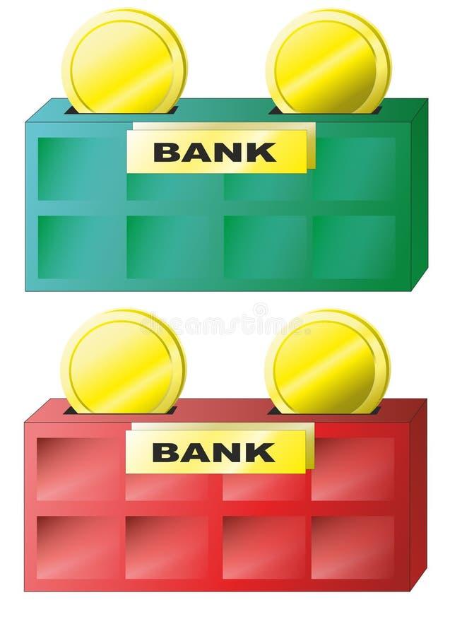 Savings monety i bank ilustracja wektor
