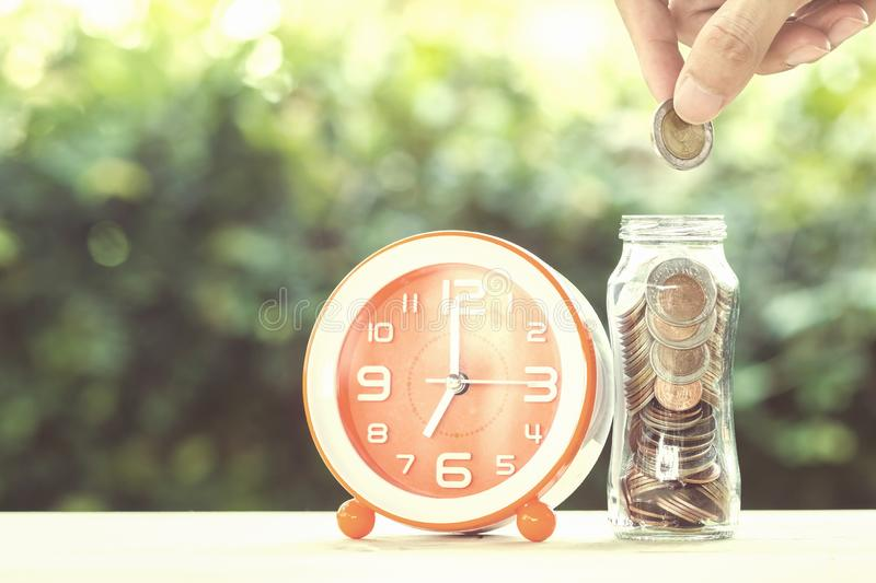 Savings money and time investment concept. stock image