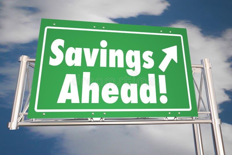 Savings Naprzód Save pieniądze autostrady Drogowego znaka ilustracja wektor