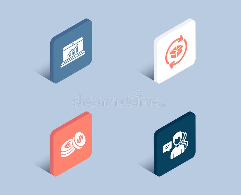 Savings, Online statistics and Return parcel icons. People sign. Cash coins, Computer data, Exchange of goods. stock illustration