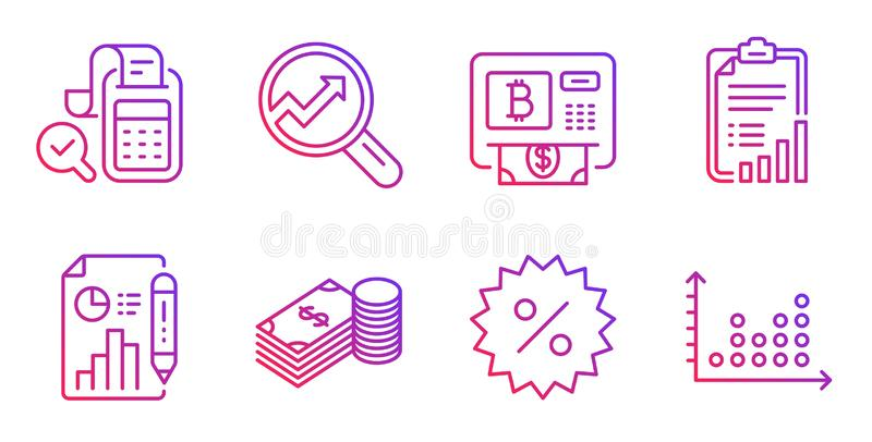 Savings, Report document and Bill accounting icons set. Discount, Bitcoin atm and Analytics signs. Vector. Savings, Report document and Bill accounting line stock illustration