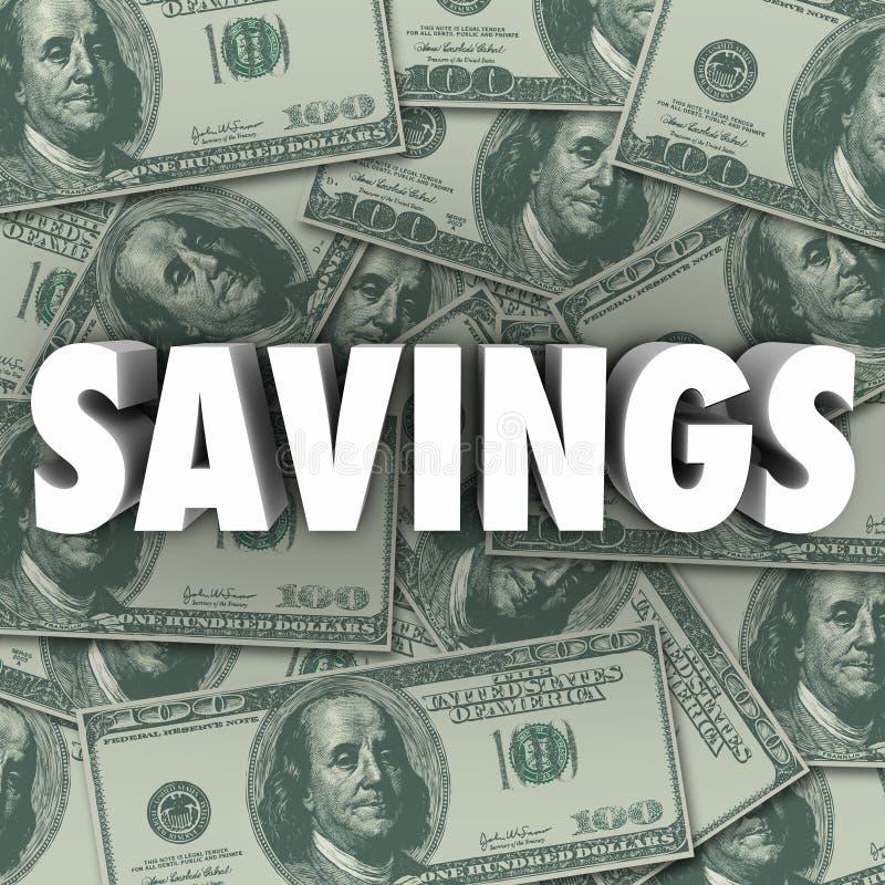 Savings słowa pieniądze stos Akumuluje bogactwo gotówkę ilustracja wektor