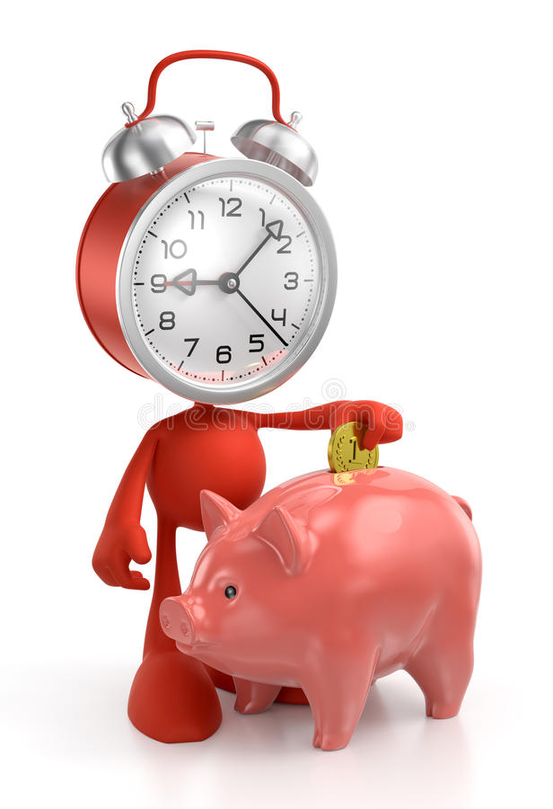 Savings Scheduler. Cartoon alarm clock placing abstract coin into money bank. 3D rendered graphics on white background royalty free illustration