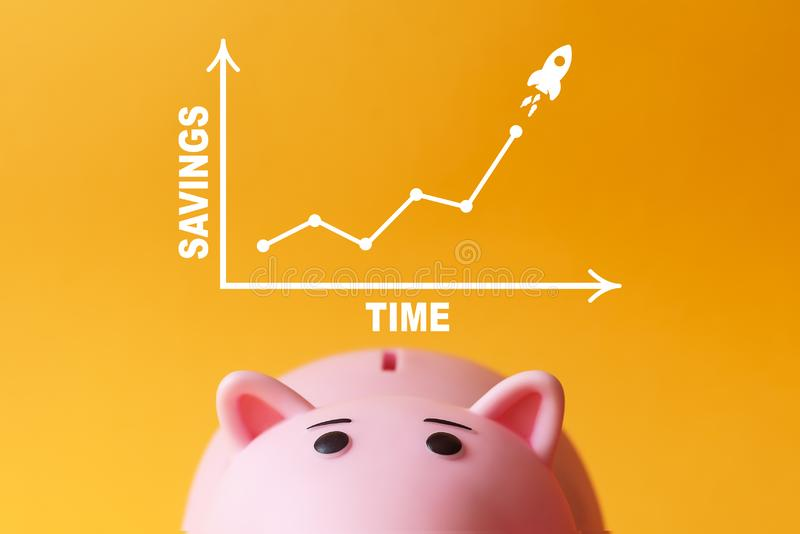 Savings and time concept. piggy bank with chart. On yellow background royalty free illustration