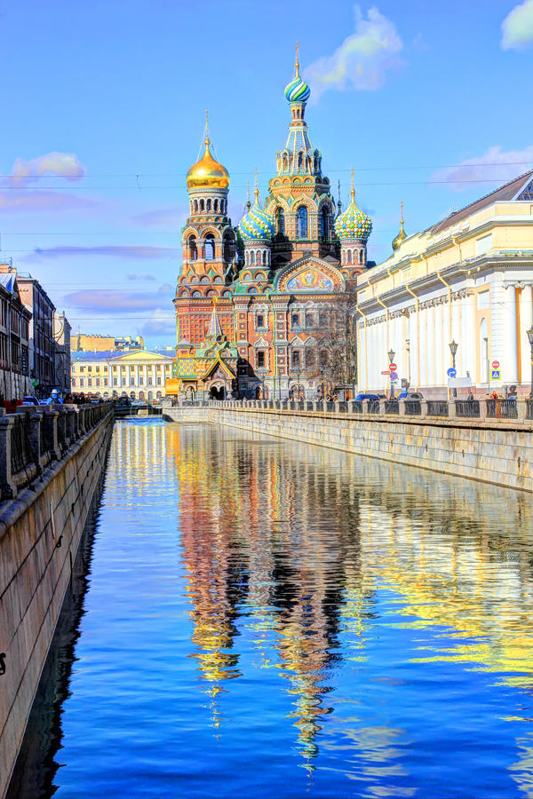 Savior on spilled Blood, St. Petersburg, Russia. St. Petersburg, the cities of Russia, sights of Saint Petersburg, the Savior on the blood, Griboedov Channel stock photo