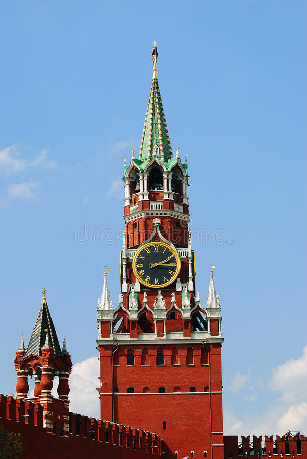 Saviors clock tower. Moscow Kremlin. stock photo