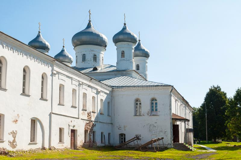 Saviour Cathedral at Russian orthodox Yuriev Monastery. Veliky Novgorod, Russia stock image