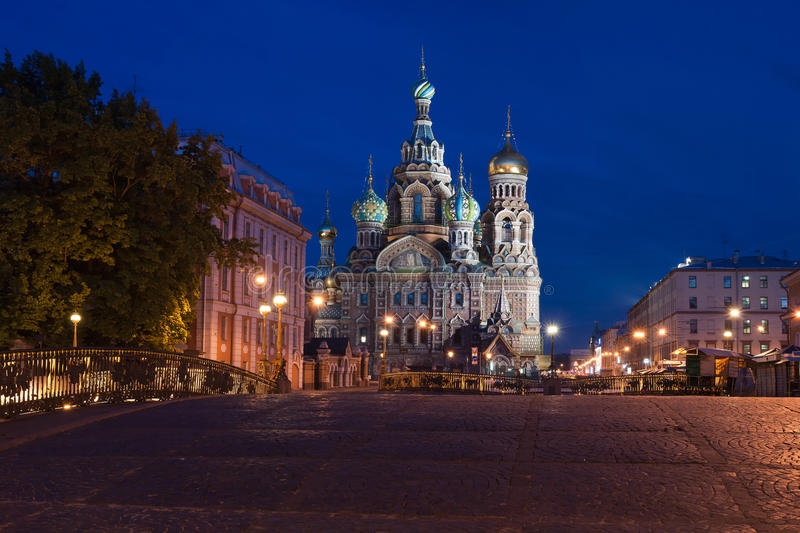 Saviour S Cathedral On Blood To St. Petersburg At Night Royalty Free Stock Images