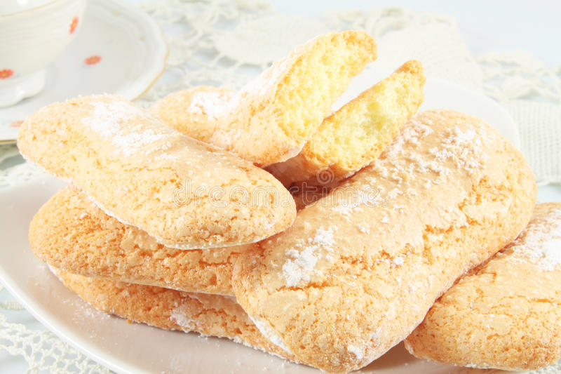 Savoiardi曲奇饼,松脆饼 库存照片