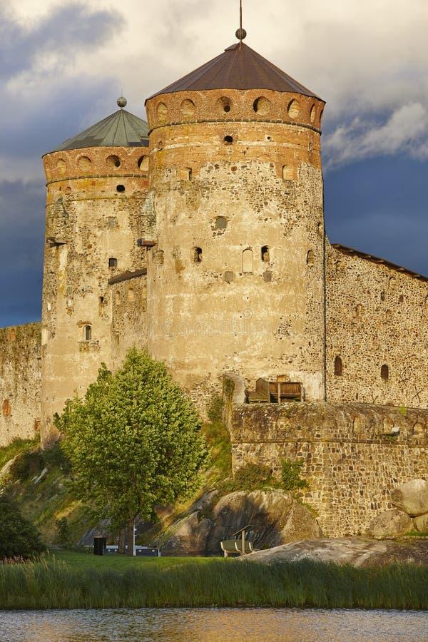 Savolinna castle fortress tower. Finland landmark. Finnish heritage. Vertical royalty free stock photography