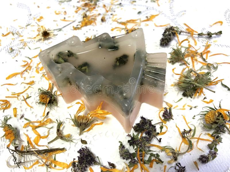 Savon fait main transparent sous forme d'arbres de Noël avec l'utilisation des herbes sur le fond blanc de la nappe images libres de droits