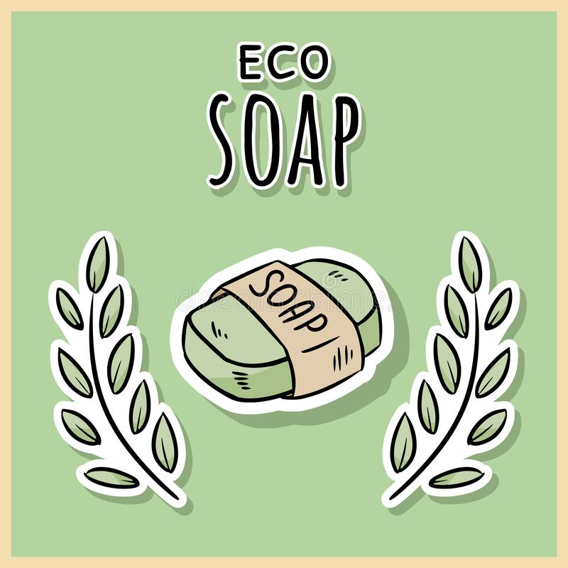 Savon matériel naturel d'eco Produit ?cologique et de z?ro-d?chets Maison verte et vie sans plastique illustration stock