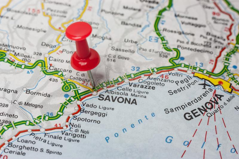 Savona pinned on a map of Italy stock images