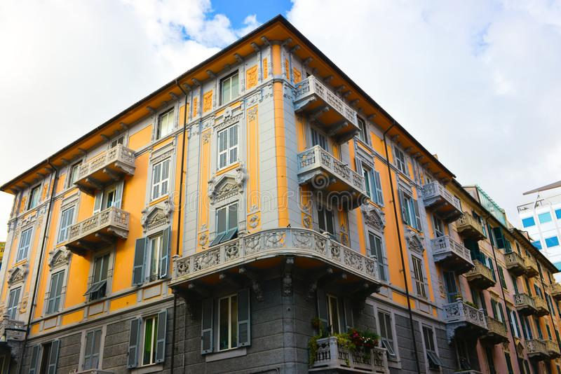 Savona Vintage Yellow Building with Beautiful Balconies, Travel Italy, Italian Architecture stock photos