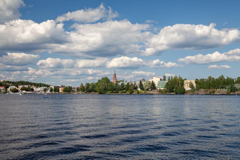 Savonlinna, Finlandia - vista do lago Saimaa, verão imagem de stock royalty free