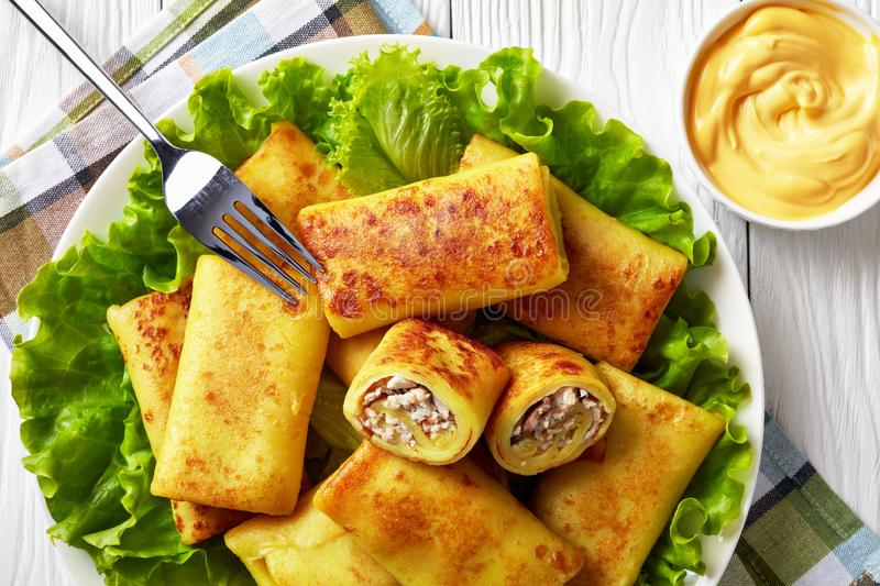 Savory crepe rolls with ground chicken meat stock images