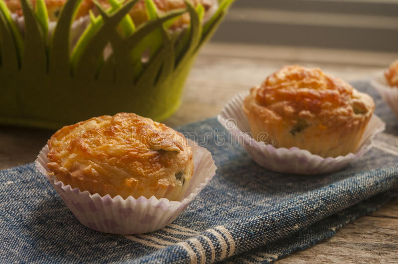 Savory muffin. Close up with ham royalty free stock image