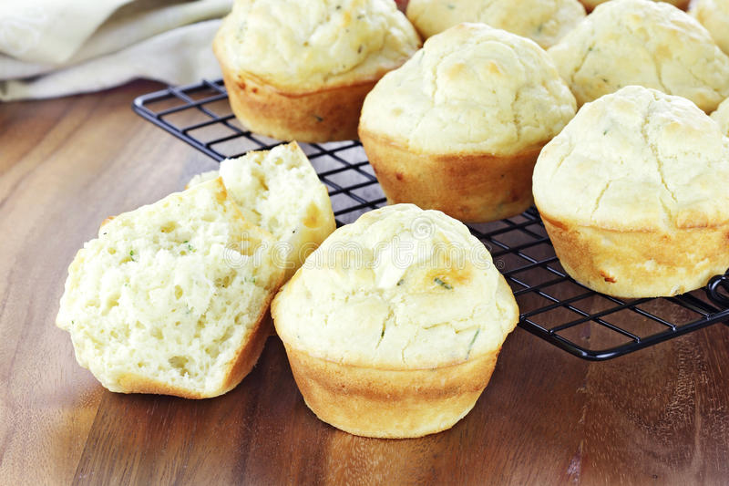 Savory Muffins. Made with chives and feta cheese stock photos