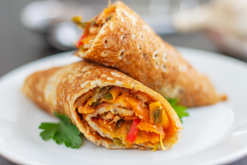 Savory Pancake. Healthy eating. Delicious Savory Pancakes royalty free stock photography