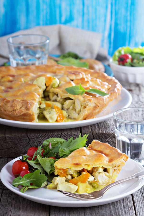 Savory pie with chicken. Savory closed pie with chicken and vegetables royalty free stock photography
