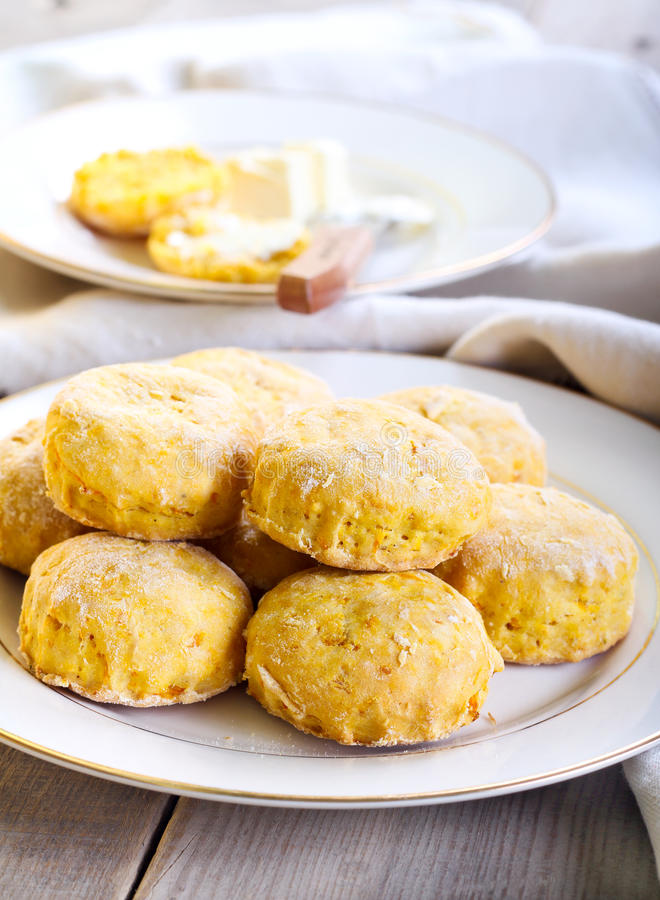 Savory scones. With roast pumpkin royalty free stock photography