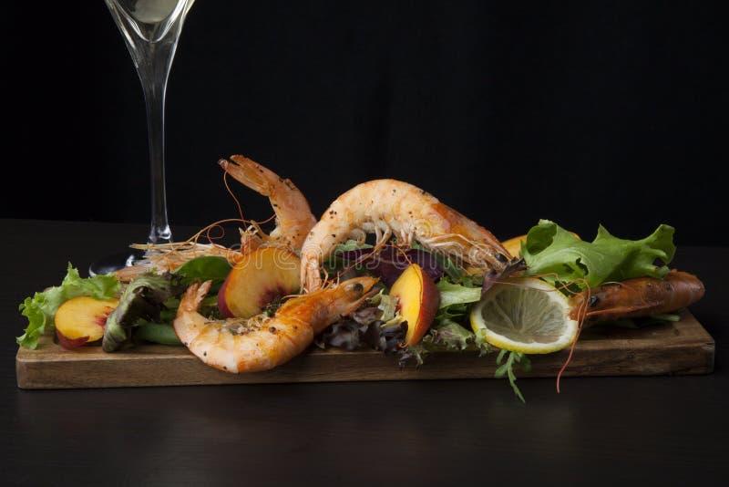 Savory Shrimp Salad On Black stock photo