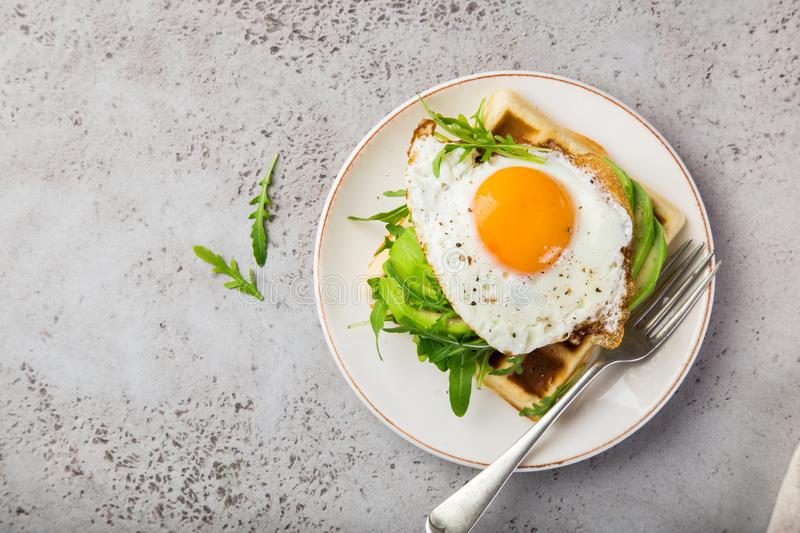 Savory waffles with avocado, arugula and fried egg for breakfast. Top view, copy spase royalty free stock image