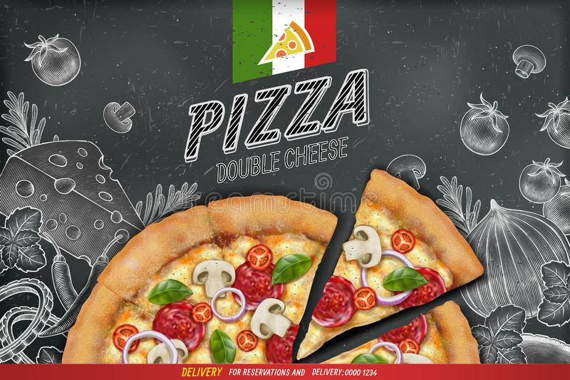 Savoury pizzaannonser stock illustrationer