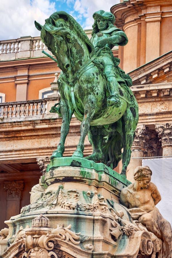 Savoyai Eugen Styatue在王宫附近的,在布达佩斯虎队 免版税库存图片