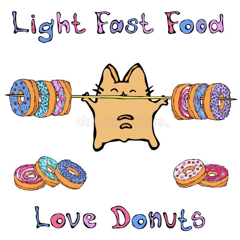 Savoyar Cat Holding Barbell com anéis de espuma Filhós do amor Fast food claro Vermelho alegre bonito ou Ginger Kitty do divertim ilustração stock