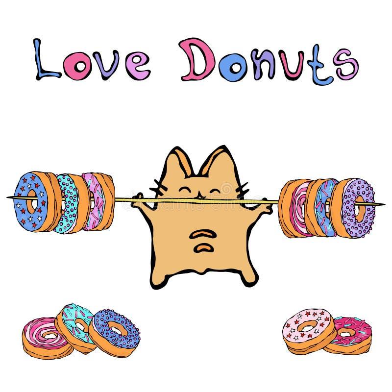 Savoyar Cat Holding Barbell com anéis de espuma Filhós do amor O vermelho alegre bonito ou Ginger Kitty do divertimento com mãos  ilustração stock