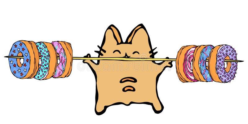 Savoyar Cat Holding Barbell com anéis de espuma Filhós do amor O vermelho alegre bonito ou Ginger Kitty do divertimento com mãos  ilustração royalty free