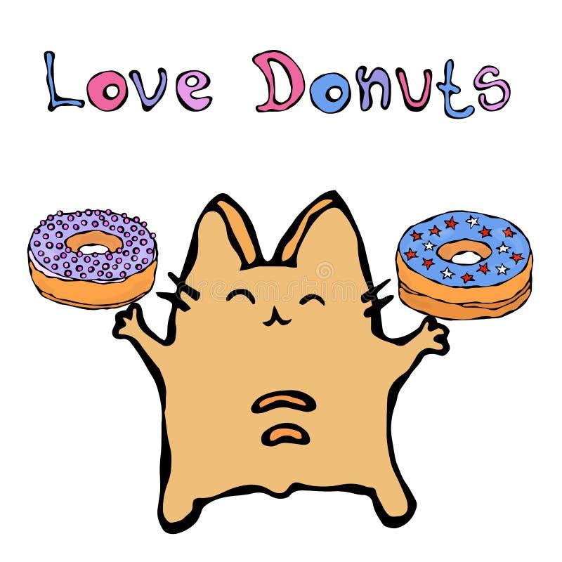 Savoyar Cat Holding Donuts Ciambella di amore Il rosso allegro sveglio o Ginger Kitty di divertimento con le mani ha tenuto il li illustrazione vettoriale