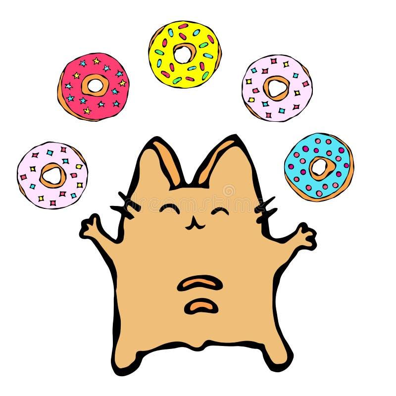 Savoyar Cat Juggling Donuts Ciambella di amore Il rosso allegro sveglio o Ginger Kitty di divertimento con le mani ha tenuto il l illustrazione di stock