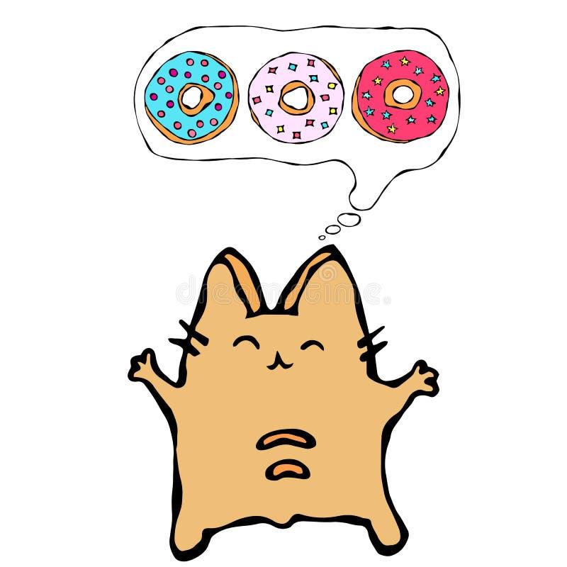 Savoyar Cat Thinking Dreaming About Donuts Ciambella di amore Il rosso allegro sveglio o Ginger Kitty di divertimento con le mani illustrazione di stock