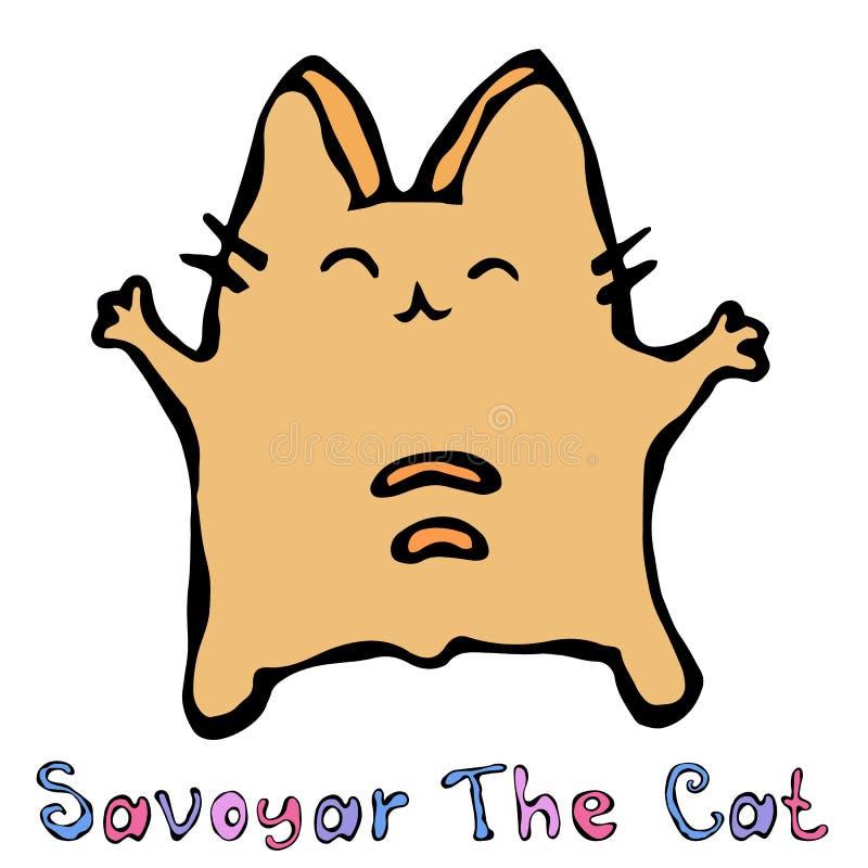 Savoyar le chat Le rouge gai mignon ou le Ginger Kitty d'amusement avec des mains a tenu la haute Chaton adorable avec la main  B illustration stock