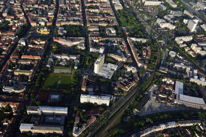 Savska街道,萨格勒布,克罗地亚鸟瞰图  图库摄影