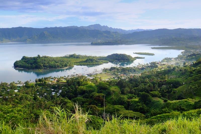 Savusavu小游艇船坞和Nawi小岛,瓦努阿岛海岛,斐济 免版税库存照片