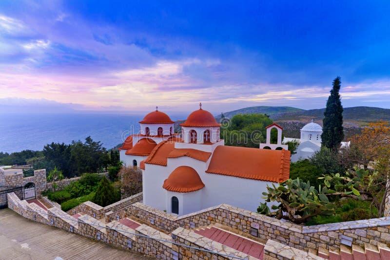 贴水Savvas修道院,卡林诺斯岛-希腊 图库摄影