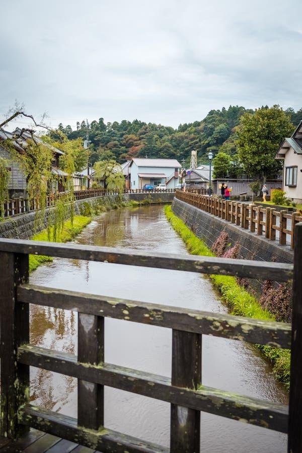 SAWARA eller 'lilla Edo 'är den historiska mitten ligger längs en kanal i det Katori området, den Chiba prefekturen, Japan royaltyfri foto