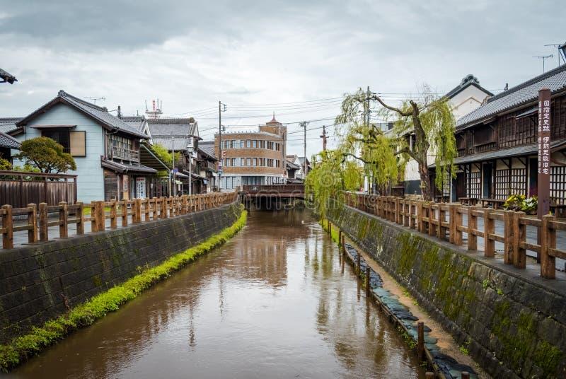 SAWARA of ?Weinig Edo ?zijn historisch centrum liggen langs een kanaal in Katori-District, de Prefectuur van Chiba, Japan stock afbeelding
