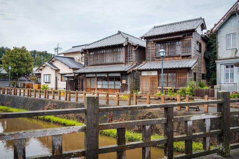 SAWARA of ?Weinig Edo ?zijn historisch centrum liggen langs een kanaal in Katori-District, de Prefectuur van Chiba, Japan stock foto's