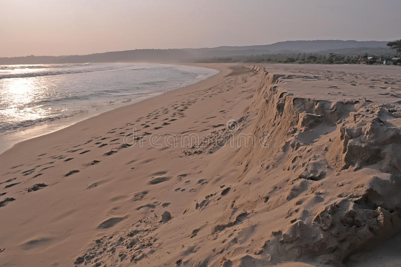 Sawarna beach. View of sawarna beach in banten, indonesia royalty free stock photo
